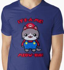 Cat Cute Funny Kawaii Mario Parody Men's V-Neck T-Shirt