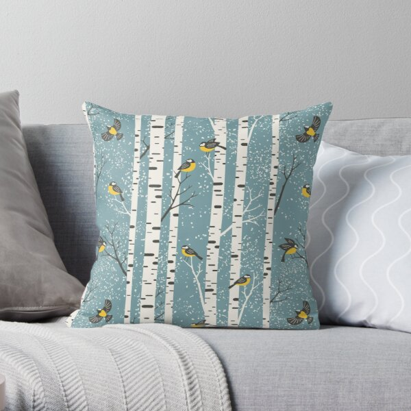 Snowy birch trees and birds on light teal background Throw Pillow