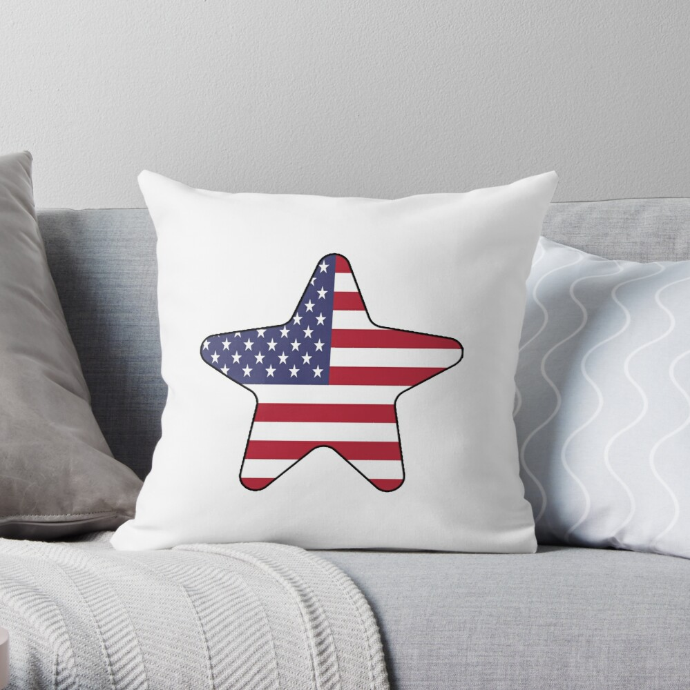 American Flag Starfish Happy 4th of July Cojín