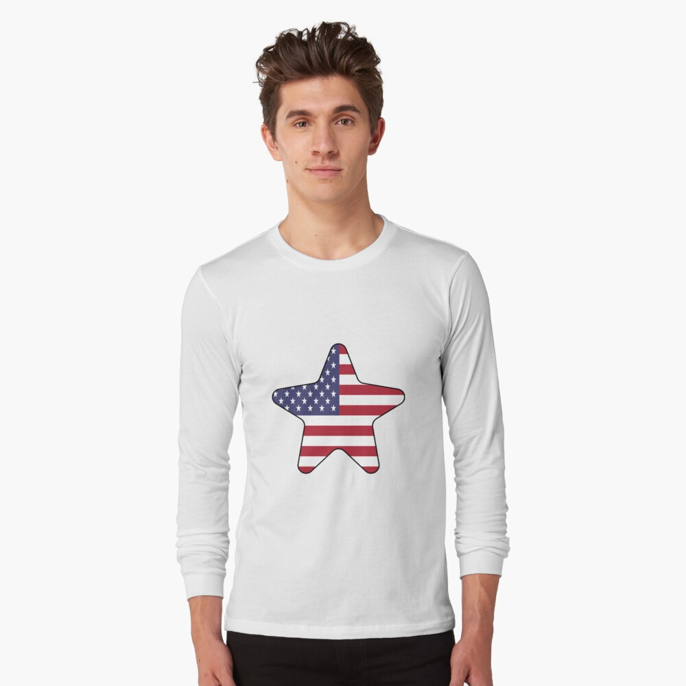 American Flag Starfish Happy 4th of July Camiseta de manga larga