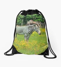 Surrounded by yellow flowers Drawstring Bag