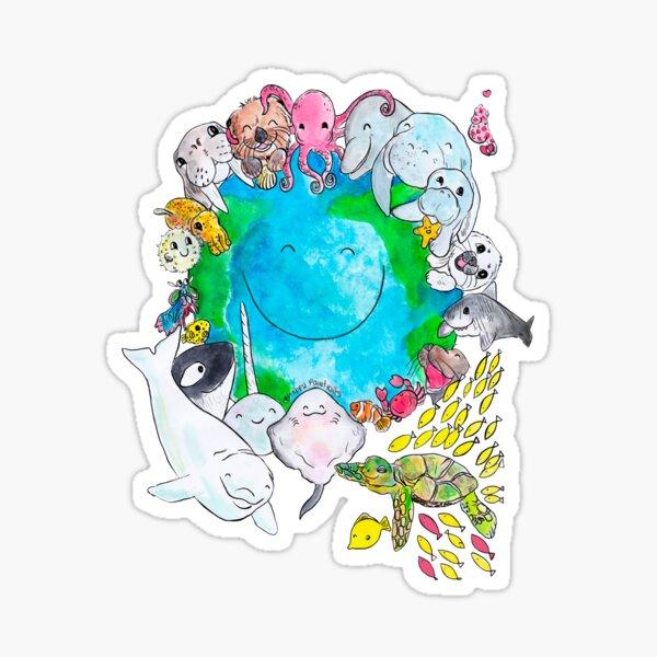 Happy Ocean Planet -  Sticker