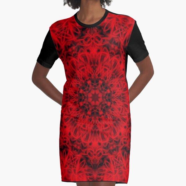 330. Red Gothic Fleur Graphic T-Shirt Dress