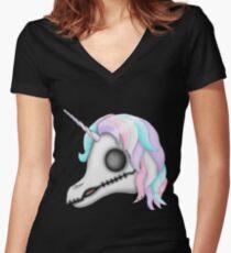 My Little Dead Unicorn   Rainbow Unicorn Skull   Black Fitted V-Neck T-Shirt