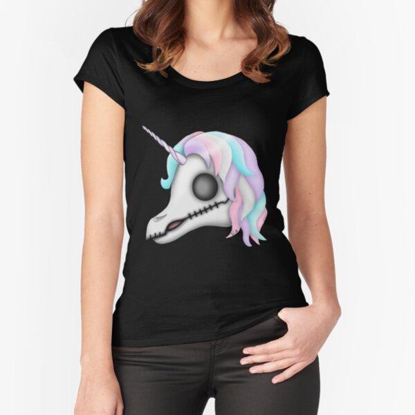 My Little Dead Unicorn   Rainbow Unicorn Skull   Black Fitted Scoop T-Shirt