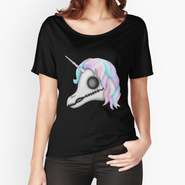 My Little Dead Unicorn | Rainbow Unicorn Skull | Black Relaxed Fit T-Shirt