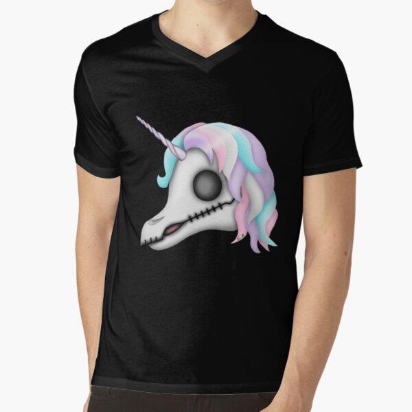 My Little Dead Unicorn | Rainbow Unicorn Skull | Black V-Neck T-Shirt