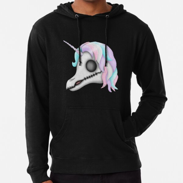 My Little Dead Unicorn | Rainbow Unicorn Skull | Black Lightweight Hoodie