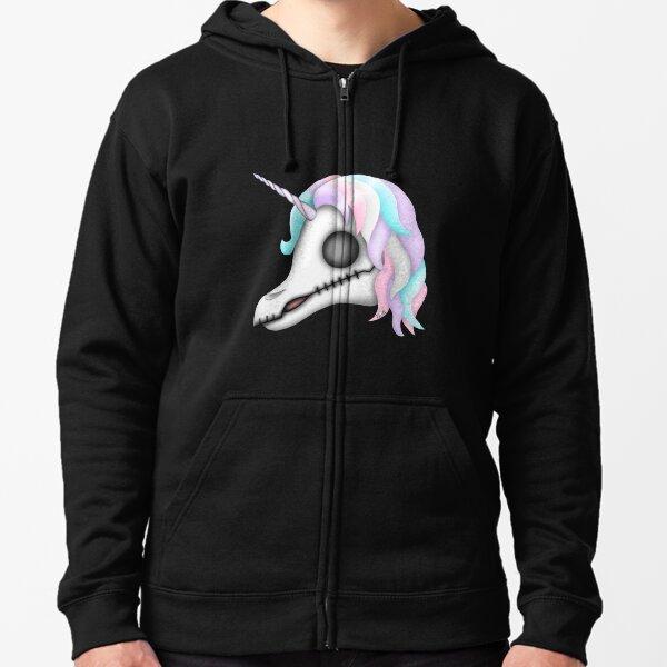 My Little Dead Unicorn   Rainbow Unicorn Skull   Black Zipped Hoodie