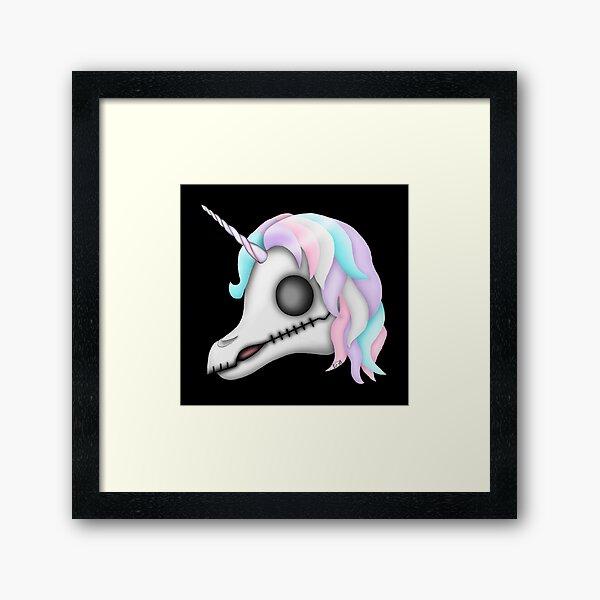 My Little Dead Unicorn   Rainbow Unicorn Skull   Black Framed Art Print