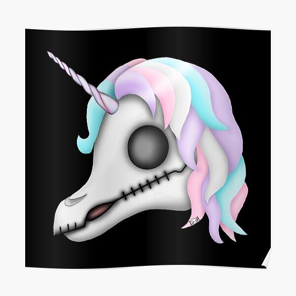 My Little Dead Unicorn   Rainbow Unicorn Skull   Black Poster