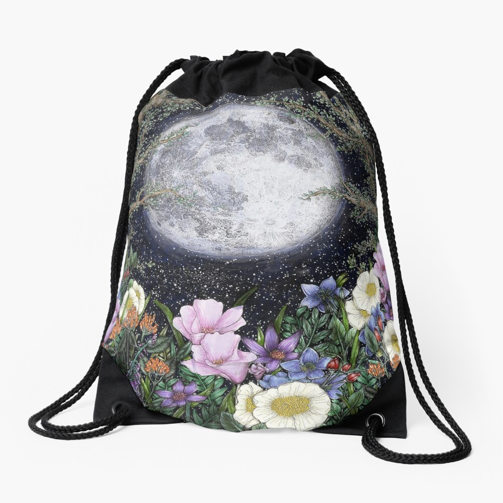 Midnight in the Garden II Drawstring Bag
