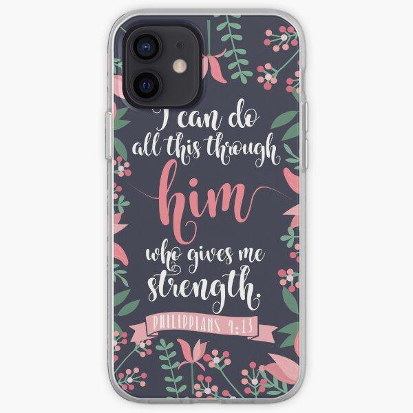 Pink Floral Flower Print Framed Background Philippians 4:13 Bible Verse iPhone Soft Case