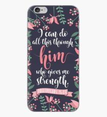 Pink Floral Flower Print Framed Background Philippians 4:13 Bible Verse iPhone Case