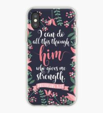 Pink Floral Flower Print Framed Background Philippians 4:13 Bible Verse iPhone Case