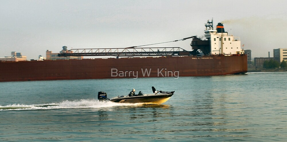 boat against ship by Barry W  King