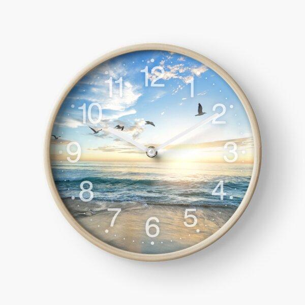Sunny peaceful beach with birds flying on white sand Clock