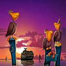 Pelican on poles cute tropical cartoon art greeting card by Walt Curlee