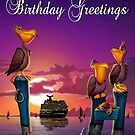 Birthday greetings pelican on poles cute tropical cartoon art greeting card by Walt Curlee