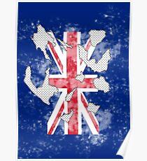 british flag torn black and white polka dots Poster