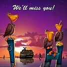 We'll miss you, pelican on poles cute tropical cartoon art greeting card by Walt Curlee
