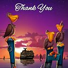 Thank You, pelican on poles cute tropical cartoon art greeting card by Walt Curlee