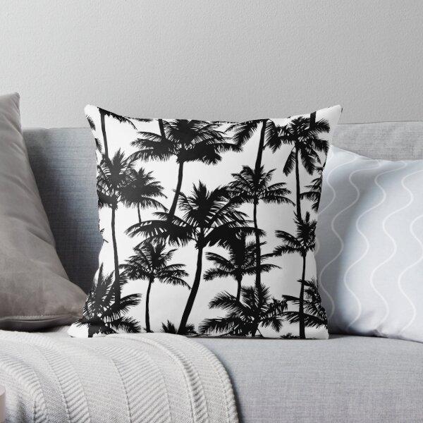Black palm trees on white background.  Throw Pillow