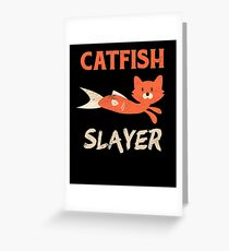 Catfish Slayer Fishing Cat Head Fish Body Fisherman Greeting Card