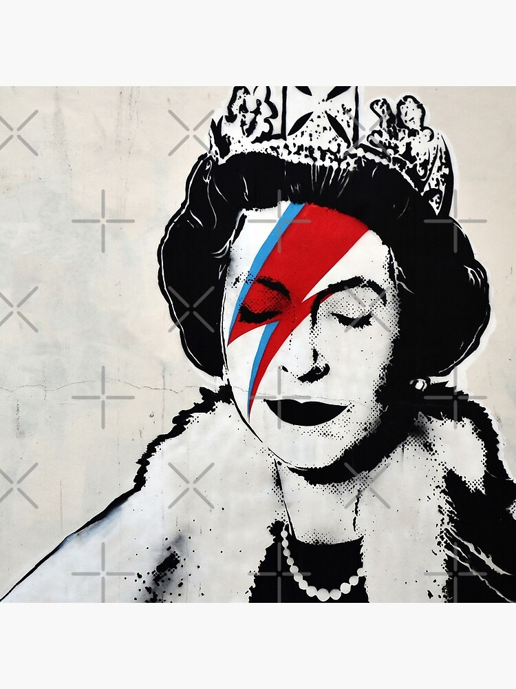 Banksy UK England Queen Elisabeth with David Bowie rockband face makeup by iresist