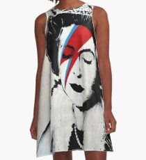 Banksy UK England Queen Elisabeth with David Bowie rockband face makeup A-Line Dress