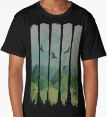 Eagles, Mountains, Grunge Landscape Long T-Shirt