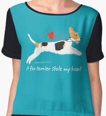 """A fox terrier stole my heart!"" (wire haired fox terrier) Chiffon Top"