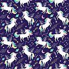 Cute space unicorns on dark blue background by MirabellePrint