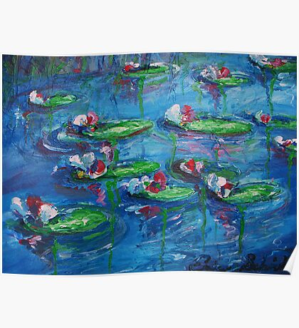 Lily Pads on a Pond PAINTING $375 Poster