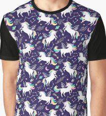 Cute space unicorns on dark blue background Graphic T-Shirt