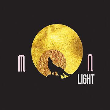Golden Moon and fox  by kartickdutta101