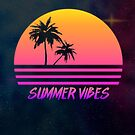Summer Vibes - Retro Synth Sunset Style by TechraNova