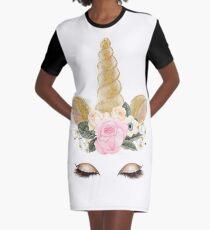 Beautiful Handpainted Magical Unicorn Face  Graphic T-Shirt Dress