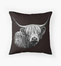 Highland Cow Portrait Throw Pillow