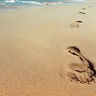 footprints in sand by psychoshadow