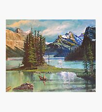 Uncharted Territory - Maligne Lake Jasper National Park Painting Photographic Print
