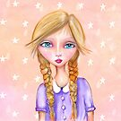 Whimsical girl art with peach tones by fotografixgal