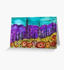 Violet Mountains Abstract Landscape Greeting Card