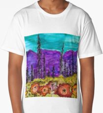 Violet Mountains Abstract Landscape Long T-Shirt