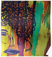 Abstract Painting Curly Haired Girl Poster