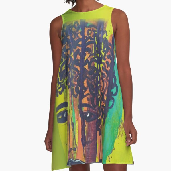 Abstract Acrylic Painting Curly Haired Girl Gradient Background A-Line Dress