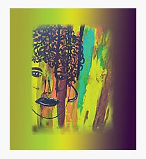 Abstract Acrylic Painting Curly Haired Girl Gradient Background Photographic Print