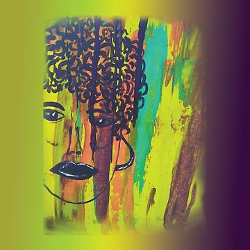 Abstract Acrylic Painting Curly Haired Girl Gradient Background by CrazyCraftLady