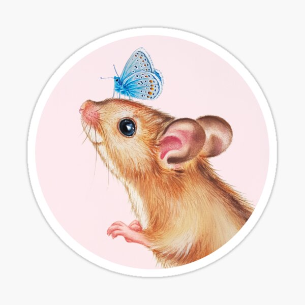 Mouse with butterfly by Maria Tiqwah Sticker