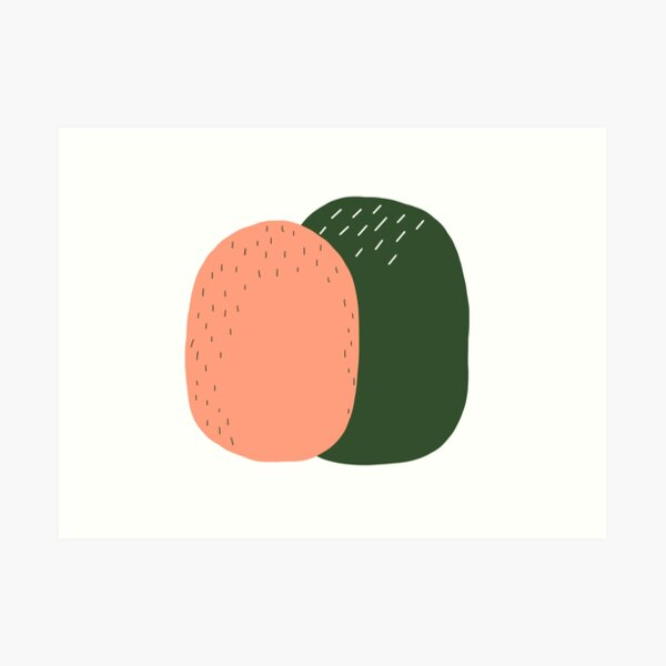 Peach and Pickle Cactus Buddies Art Print